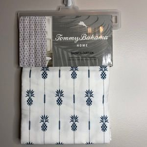 New Tommy Bahama pineapple striped shower curtain